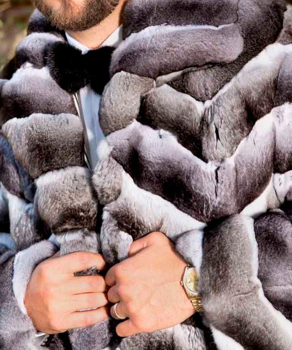 чистка мужской шубы из шиншиллы
