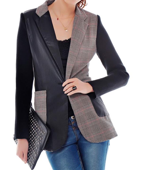 Чистка женского пиджака с кожаной отделкой