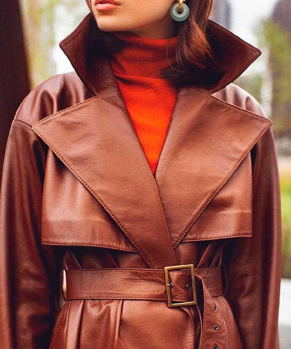 Чистка кожаного женского пальто до 100 см